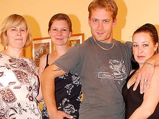 This lucky dude fucks three older women